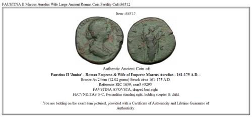FAUSTINA II Marcus Aurelius Wife Large Ancient Roman Coin Fertility Cult  i36512 3