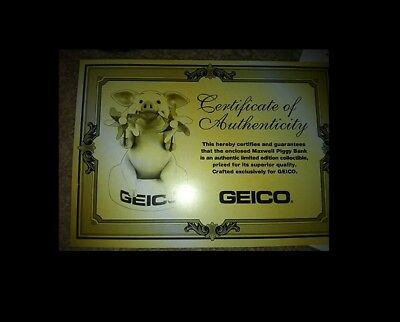 GEICO Maxwell The Pig Talking Piggy Bank Rare in Box with Certificate OOP gecko