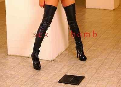 Sexy STIVALI COSCIA tacco 13,5 dal 36 a 46 NERO OPACO stringati zip CLUB Glamour 11