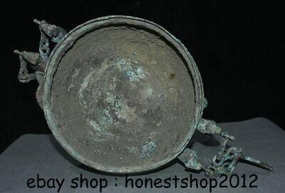 "14 ""Chinesische Dynastie Antik Bronze Ware 3 Tier Griff Kette Pot Jar Crock 7"