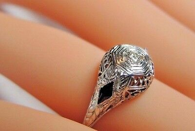 Antique Art Deco Diamond Engagement 20K White Gold Ring Size 5.75 UK-L EGL USA 11