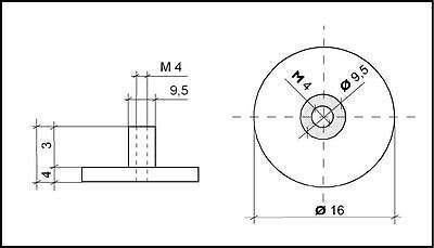 12 X Saugnapf Mit Gewinde O 40mm M4 X 6mm Mit Randelmutter