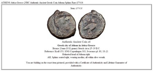 ATHENS Attica Greece 25BC Authentic Ancient Greek Coin Athena Sphinx Rare i37416 3