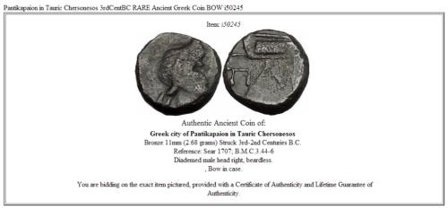 Pantikapaion in Tauric Chersonesos 3rdCentBC RARE Ancient Greek Coin BOW  i50245 3
