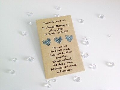 10 Personalised Forget Me Not Seed Packets Envelopes Favours Funeral Memorial 2