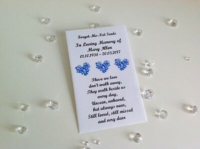 10 Personalised Forget Me Not Seed Packets Envelopes Favours Funeral Memorial 3