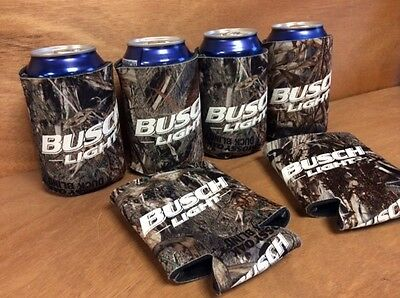 Set Of Two - New /& F//S Busch Light Real Tree Mossy Oak Camo Beer Koozies 2