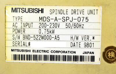 Mitsubishi MDS-A-SPJ-075 0.75kW Meldas AC Servo Spindle Drive Module Unit 4
