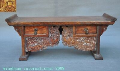 Chinese Huanghuali Old wood carved Phoenix Bird drawer coffee table Desk statue 5
