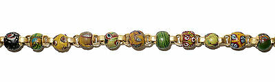 Necklace of Early Islamic Glass Beads Mount in 18k Gold  (0734) 3