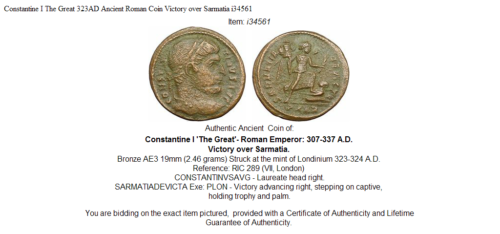 Constantine I The Great 323AD Ancient Roman Coin Victory over Sarmatia i34561 3