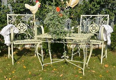 JARDIN FER CHAISE Style Ancien Fauteuil Blanc Metal Mobilier Forge ...