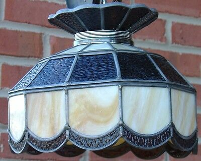 Vintage Stained Leaded Slag Glass PARLOR Lamp Amber & Opal Color Tiffany Style 3
