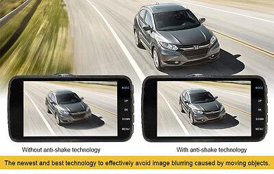 """Elinz Dash Cam Dual Camera Reversing 4"""" Recorder Car DVR Video 170° 1296P 32GB 8"""