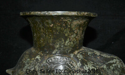"12.2"" Antique Old Chinese Bronze Ware Dynasty Rabbit Zun Vase drinking vessel 2"