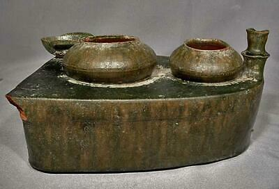 Ancient Chinese Han Dynasty 25-220 A.D. Green Glazed Pottery Cooking Stove Model 3