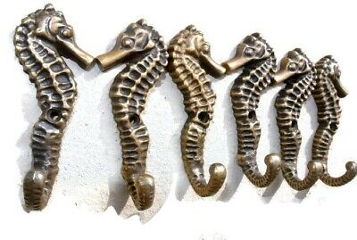 "6 small SEAHORSE BRASS HOOK COAT WALL MOUNTED HANG TROPICAL old style hook 3"" B 3"
