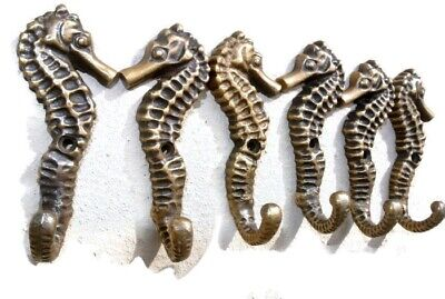 "12 small SEAHORSE BRASS HOOK COAT WALL MOUNTED HANG TROPICAL old style hook 3"" B 5"