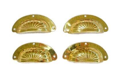 "8 shell handles PULL polished Brass PULL  knob kitchen  pressed 4"" screws B 3"