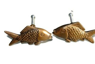 """4 aged ANTIQUE old style FISH Cabinet Door solid 100%Brass KNOB Drawer Pull 2"""" B 3"""