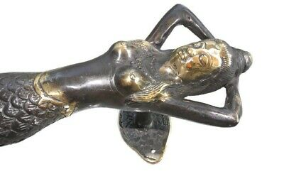 "medium MERMAID brass door PULL aged old style look heavy house PULL handle 13""B 2"
