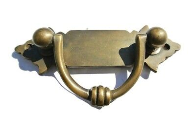 8 strong small old look BOX drawer pull handles  brass vintage age style 11 cm B 2