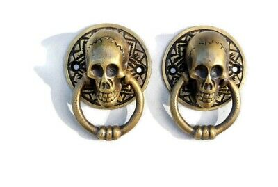 "2 small SKULL head handle DOOR PULL ring natural cast BRASS old style 5 cm 2"" 2"