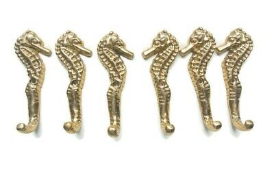 """12 small SEAHORSE BRASS HOOK COAT WALL MOUNTED HANG TROPICAL old style hook 3"""" B 4"""