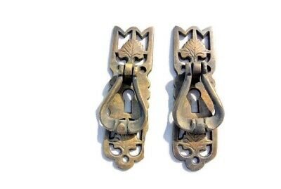 4 small old style pulls BRASS handles aged door old style drops knobs kitchen B 9