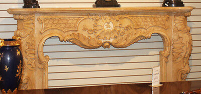Massive French Carved Italian Marble Fireplace Mantel Mantle Surround 1940s WOW! 5