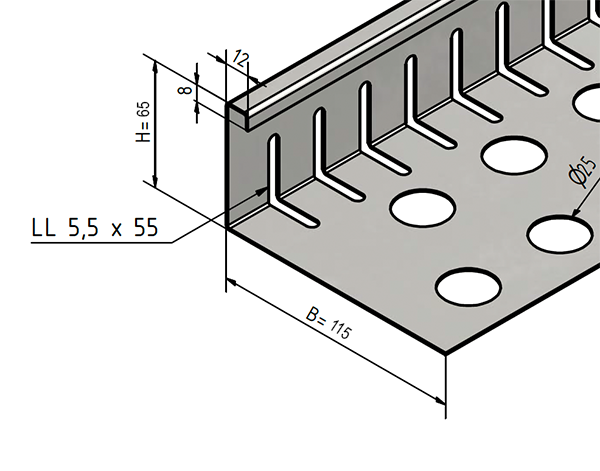 Aluminium Kiesfangleiste höhenverstellbar 110-150mm  Kiesleiste Balkon Flachdach