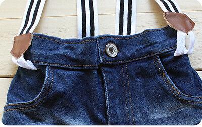 2PCS Baby handsome Boys T-shirt gallus  denim shorts pants Set fit 2-8T