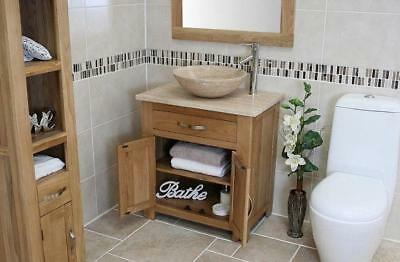 Miraculous Solid Oak Bathroom Vanity Cabinet Sink Bathroom Unit Travertine Worktop Home Remodeling Inspirations Genioncuboardxyz