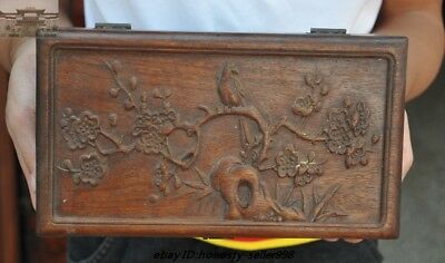 Chinese old Huanghuali wood Carving Plum blossom bird statue storage box boxes 7