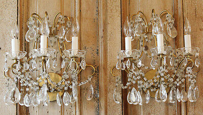 Breathtaking Antique Pair Macaroni 3 Arm Beaded Wall Sconces Early 1920s Lovely 3