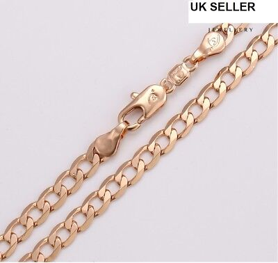 """539 9ct 9K Rose /""""Gold Filled/"""" Men Girl Curb Ring Link All Sizes Chain Necklace"""
