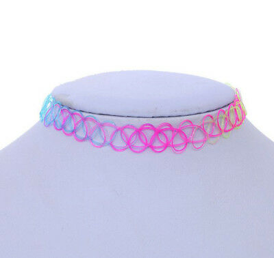 Hippy 90s Stretch Tattoo Elastic Boho Choker Necklace Bracelet Cord Retro Gothic 10