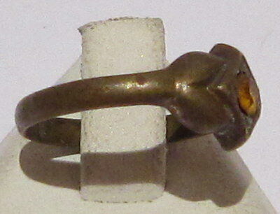 VINTAGE NICE BRONZE RING WITH YELLOW STONE FROM THE EARLY 20th CENTURY # 17B