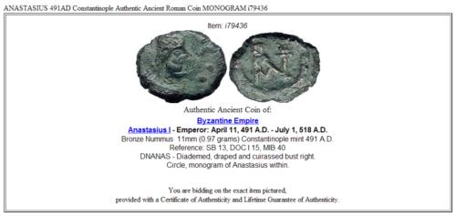 ANASTASIUS 491AD Constantinople Authentic Ancient Roman Coin MONOGRAM i79436 3