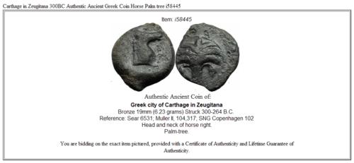Carthage in Zeugitana 300BC Authentic Ancient Greek Coin Horse Palm tree  i58445 3