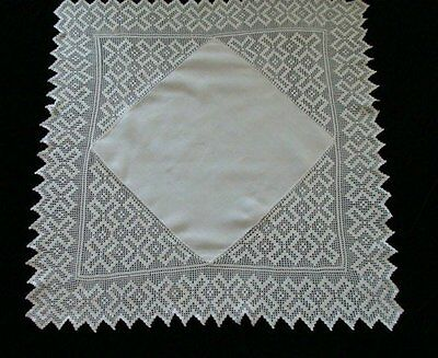"FAB Antique Linen HAND MADE Deep Lace Tablecloth 44"" English Tea Cloth PRISTINE"