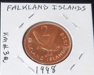 A Beautiful Shiny 1998 Falkland Islands Two Pence Piece (KM# 3a) 4