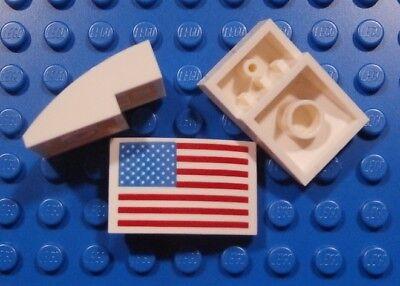 LEGO U.S FLAG TILE ~ Rare Authentic Printed 1 x 2 Tile USA NASA Apollo NEW