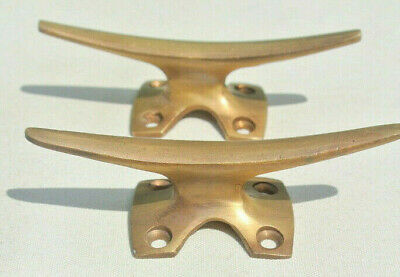 2 small CLEAT tie down heavy brass boats cars tieing rope hooks cast cleats 9cmB 2