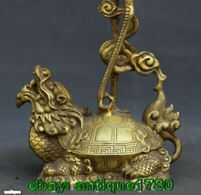 old Bronze Animal Crane Dragon Turtle Candle Holder Candlestick Statue Pair 5
