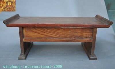 Chinese Huanghuali Old wood carved Phoenix Bird drawer coffee table Desk statue 10