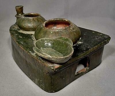 Ancient Chinese Han Dynasty 25-220 A.D. Green Glazed Pottery Cooking Stove Model 5