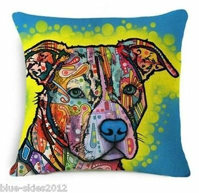 Pitbull Staffy Terrier DOG Watercolour Painting LINEN COTTON CUSHION COVER UK