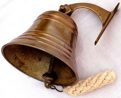 Antique Brass Ship Bell Nautical Hanging Door Bell With Wall Mounted Bracket 3