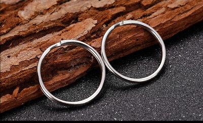 200PCS Key Rings Chains Split Ring Hoop Metal Loop Steel Accessories 25mm US 8